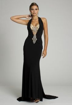 Prom Dresses - Long Jersey Dress with Beaded Plunging Neckline from Camille La Vie and Group USA