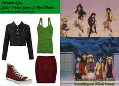 Like Sailor Moon Outfits on Facebook! Requested by: mimigolden Converse All-Star Hi Maroon shoes Own The Runway wine textured bodycon skirt Abercrombie and Fitch Codie tank in Green Supre denim jacket in Black