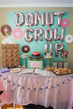 Donut Grow Up balloons Donut Party Decorations Donut Party Decor Donut Birthday Kids Birthday Party Baby Birthday Party Donut Balloons ideas for 13 year olds 1st Birthday Party For Girls, Donut Birthday Parties, Girl Birthday Themes, Birthday Party Decorations, Party Themes For Kids, 8th Birthday, Donut Decorations, Girl Theme Party, Diy Party
