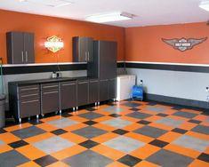 50 Garage Paint Ideas For Men - Masculine Wall Colors And Themes Garage Paint, Garage Walls, Garage Flooring, Harley Davidson, Garage Design, House Design, Design Design, Outdoor Wicker Chairs, Man Cave Garage