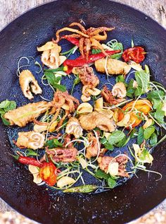 Salt & pepper squid Crispy but tender squid with a hum of pepper heat, complemented by fragrant herbs, crispy garlic and a hit of vinegar