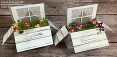 Card in a box...window and flowers...sweet idea