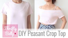 DIY Off the Shoulder Peasant Crop Top - Thrifty Belly ep1
