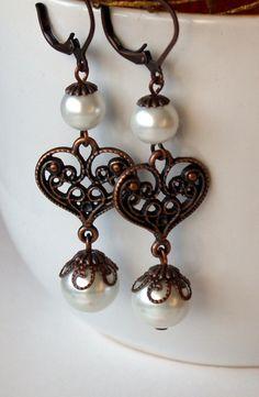 Pearl Earrings With Copper Heart  Wedding by DreamsOfCharlotte, $16.00
