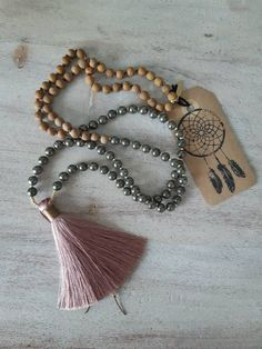 This gorgeous, partially hand knotted mala is made with 6 mm pyrite, 6 mm wood jasper, gold glass seed beads and a stunning raspberry silk tassel. Gold Glass, Jasper, Seed Beads, Tassel Necklace, Knots, Raspberry, My Etsy Shop, Check, Jewelry