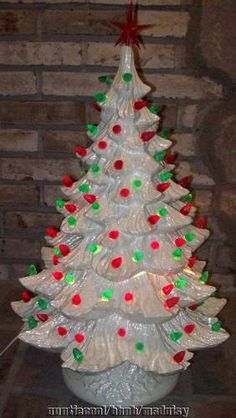 Huge Vtg 27 White Ceramic Christmas Tree 3 Pc Loaded with Lights Vintage Ceramic Christmas Tree, Christmas Tree Art, Vintage Christmas Images, Christmas Candles, Christmas Past, Vintage Christmas Ornaments, Retro Christmas, A Christmas Story, Vintage Holiday