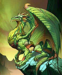 Emerald Dragon fantasy art by *el-grimlock on deviantART