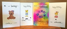 PACK of 4 Greetings Cards  Kid's Birthday Cards Animal