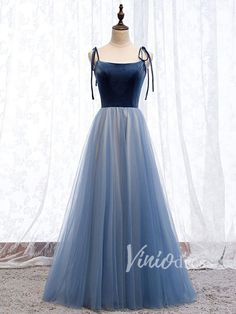 Dusty Blue Simple Formal Dresses with Straps FD1486 – Viniodress