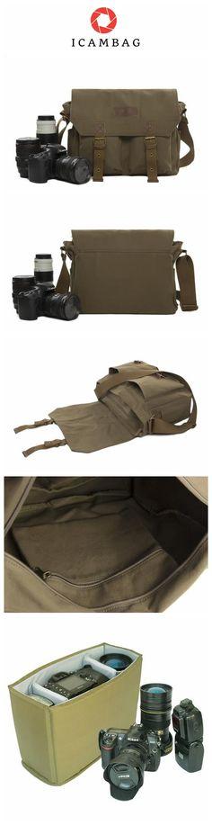Retro Camera Bag Canvas DSLR Camera Bag Camera Crossbody Bags Canvas Camera Bag 1003 Green