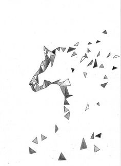 Geometric B&W  Zen Horse  Art Watercolor Painting PRINT  Archive  Painting 8x11 Animal Horse Home Modern Decor Illustration white black grey