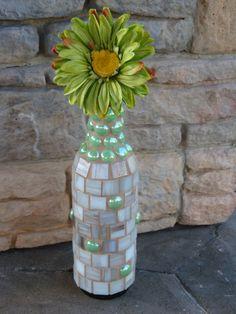 Mosaic Wine Bottle - White, Gold, Beige Tiles and Light Green Gem Stones - No. 615