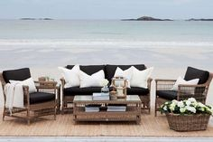 Slettvoll by Helene Hennie Outdoor Sofa, Outdoor Spaces, Outdoor Living, Outdoor Decor, Coastal Homes, Coastal Living, Country Living, Outside Furniture, Outdoor Furniture Sets