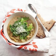 Parmesan rind and Savoy cabbage soup Parmesan Soup, Parmesan Rind, Savoy Cabbage, Cabbage Soup, Soup Recipes, Vegetarian Recipes, Veggie Soup, Mouth Watering Food, Ottolenghi