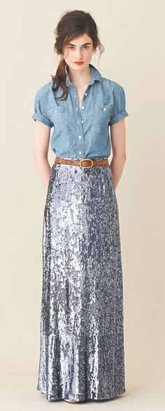 Denim shirt + sequined maxi skirt. Amazing.