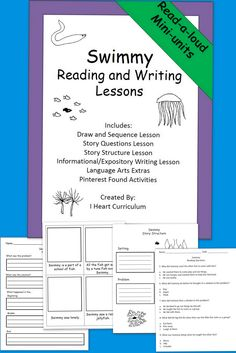 Here are four lessons based on the book Swimmy by Leo Lionni, as well as language arts extras and pinterest found project ideas. Included are story questions, a story map activity, an informational writing lesson, and a story sequencing lesson.