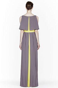 ROKSANDA ILINCIC Grey & Chartreuse Silk Marlin Dress