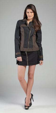 Jaqueta: Indigo Enna Nice Black 9,3 oz e Cotton Extreme /// Saia: Cotton Stripe Span Algarve #jaquetajeans #minisaia #alfaiatariaemalgodao #stripes #focusonjeans®