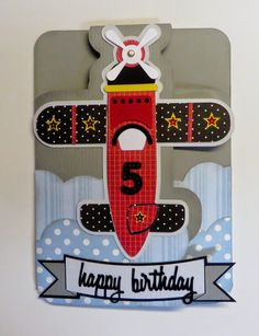 Expression Avenue: Happy Birthday Airplane card made for 5 year old birthday boy with my Silhouette