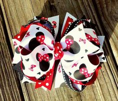 Minnie Mouse 5 Disney Boutique Hair Bow by MiaBellaCrafting