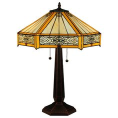 Inch H Peaches Table LampHoney stained glass strips accent Beige panels of this hexagonal shaped shade, which is highlighted with decorative Brass details Stained Glass Table Lamps, Stained Glass Windows, Tiffany Lamps, Glass Company, Ceiling Fixtures, Light Table, Glass Shades, Floor Lamp, Glass Art