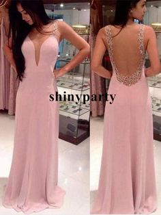 Custom Made A-line round neckline Chiffon Long Prom Dresses, Formal Dress
