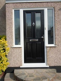 2 Panel 2 Square Glazed Composite Front Door in Black with Two Side Panels