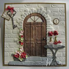 Welmoed heeft achter het leuke stenen poortje van Bille 6002/0336 de leuke deur 6002/0196 gebruikt, dit geef een leuk effect.