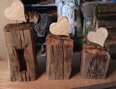 Wood Projects Wooden beams, old with oak heart, deco, 3 different sizes or as set … Into The Woods, Garden Crafts, Diy Garden Decor, Wood Crafts, Diy And Crafts, Woodland Nursery Decor, Create And Craft, Driftwood Art, Beams