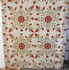 SPECTACULAR c 1870s Whig Rose APPLIQUE red green Antique QUILT great border