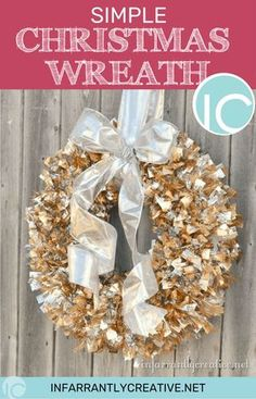 Simple Christmas Wreath made in 5 minutes and so adaptable to any garland or holiday! #ChristmasWreath #christmas #christmasdecor #christmasdecordiy #christmaswreathsgarlands