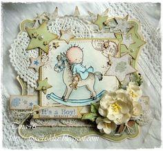 Glückwünsche - Glückwunschkarte zur Geburt in Vintage - ein Designerstück von tina46 bei DaWanda