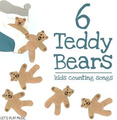 six teddy bears asleep in bed : Counting songs - Let's Play Music