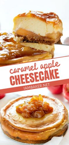 Caramel Apple Cheesecake, Easy Cheesecake Recipes, Caramel Apples, Fancy Desserts, Fancy Cakes, Just Desserts, Fall Dessert Recipes, Fall Recipes, Fall Baking