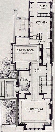 Frank Lloyd Wright The Heller House, Woodlawn Ave., Chicago IL  Detail of the Floor Plan with Text