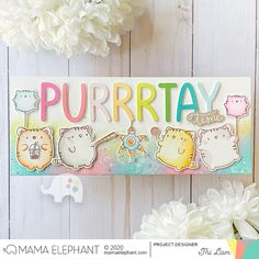 Zodiac Tiger with Thi Cat Birthday, Funny Birthday Cards, Bday Cards, Scrapbook Cards, Scrapbooking, Mama Elephant Stamps, Elephant Design, Color Card, Kids Cards