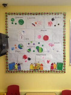 My preschool bulletin board for September/BacktoSchool  Paper placemat Circle cut outs