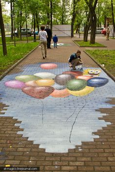 Spongebob and balloons street art