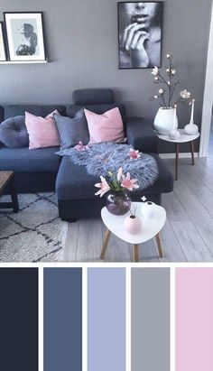 Dark Blue Pink Living Room Color Scheme Ideas - Zimmereinrichtung - Home flw Living Room Colour Design, Good Living Room Colors, Living Room Decor On A Budget, Living Room Color Schemes, Cozy Living Rooms, Living Room Grey, Home Living Room, Living Room Designs, Living Room Furniture