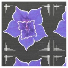 Art Deco-ish Morning Glory - Purple on Black - This Custom Made FABRIC featuring an original digital painting by Leslie Sigal Javorek is a great choice for your Art Deco re-decorating plans! The variety of purple Morning Glory flower depicted has  fine white borders that really pops out against the black background. Classic Art Deco corners of thin white lines ties it all together. #artdecofabric #artdecohomedecor #purpleflowersonblackfabric