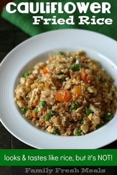 Cauliflower Fried Rice. 3 cups of grated raw cauliflower (use a cheese grater or food processor) - 1/2 cup frozen peas - 1/2 cup carrots, thinly sliced - 3-4 garlic cloves, minced - 1/2 cup onion, diced - 1/2 TBSP olive oil - 2 eggs (or 4 egg whites) scra