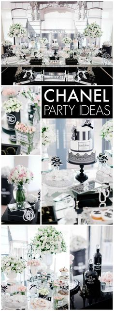 What a stunning black & white Chanel party - we love this theme for a sophisticated monochrome New Years Bash Chanel Party, Chanel Birthday Party, Birthday Brunch, Brunch Party, Birthday Parties, Brunch Table, Elegant Birthday Party, Birthday Party Ideas For Adults 30th, 18th Birthday Party Ideas Decoration
