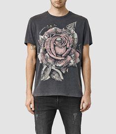 Mens Hollywood Rose Crew T-Shirt (Vintage Black) - product_image_alt_text_1
