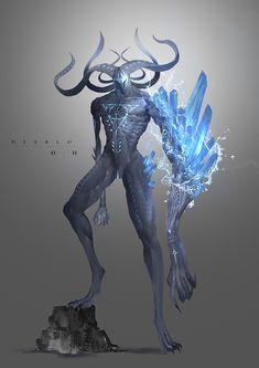 ArtStation - The three calamities-Belia-Diablo-Mephisto, Huang Hao Monster Concept Art, Fantasy Monster, Monster Art, Ice Monster, Fantasy Character Design, Character Design Inspiration, Character Art, Creature Concept Art, Creature Design
