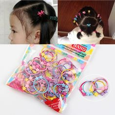 50pcs/1Pack Hair Accessories Cute Candy Colors Elastic Hair Rubber Band High Quality Kid Ponytail Holder Headband Ties Gum #Affiliate