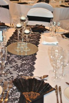 Table Decor: either white table cloth and black lace runner or black table cloth and white lace table runner. Black Lace Table, White Lace, Black And White, Wedding Table Layouts, Wedding Decorations, Table Decorations, Wedding Ideas, Prom Ideas, Fun Ideas