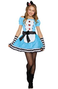 Miss Wonderland Tween Costume - PureCostumes.com  Alice in Wonderland