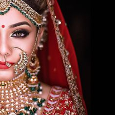 Beautiful bridal makeup and jewellery. Indian Wedding Makeup, Indian Wedding Bride, Best Bridal Makeup, Bridal Makeup Looks, Indian Makeup, Bride Makeup, Bridal Beauty, Wedding Pictures, Wedding Ideas