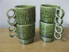 Set of 4 retro avocado green floral coffee cups  by oakiesclaptrap, $15.99