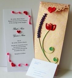 Bespoke Wedding invitation, special quilling envelope, RSVP card, handmade item, quilling paper, persionalized, customized, tulip, lavender by Hiquilling on Etsy